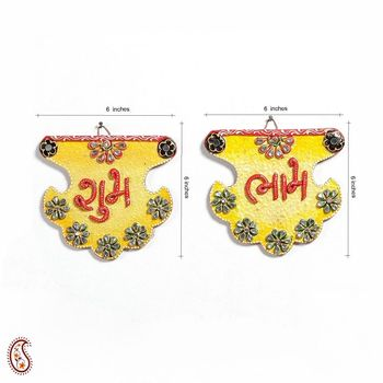 Shubh Labh Wood and Clay work Wall Art Hanging