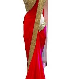 Buy Red plain georgette saree with blouse other-actress-saree online