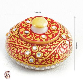 Diwali gifts - Sindoor Daani with Kundan And Gold Paint work in White Marble