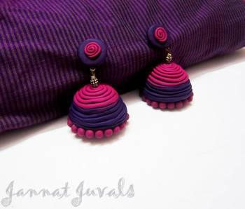 Violet and Magenta Spiral Jhumka