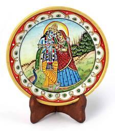 Buy Gold Minakari Marble Radha Krishna Beautiful Plate Diwali Gift 396 diwali-decoration online