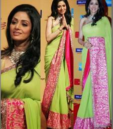 Buy Sridevi Bollywood Design Zari Border Chiffon Saree Diwali Special Gift 558 black-friday-deal-sale online