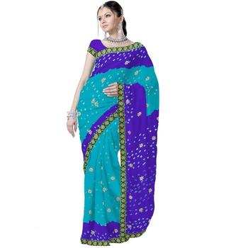 Pure Chiffon Tie and Dye Turquoise Saree n Blouse Deepawali Gift 183