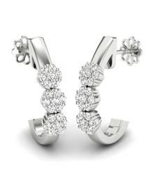 Buy Balletic Platinum Plated Swarovski Crystal Sterling Silver Chandbali Earring hoop online