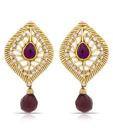 Buy Luxor Beautiful Purple Designer Earrings  hoop online