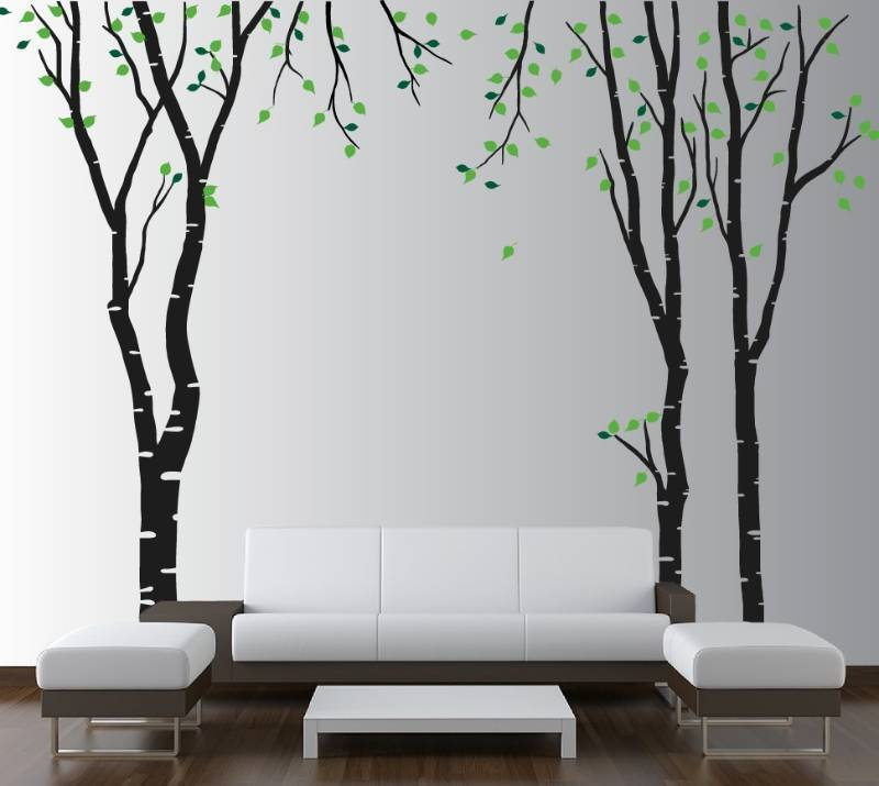 Buy wall decals birch tree with leaves stickers online for Black tree wall mural
