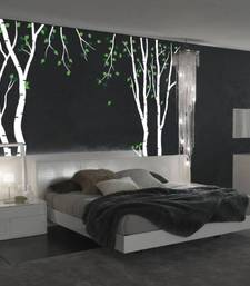 Buy birch-tree-wall-decal-with-green-leaves wall-art online