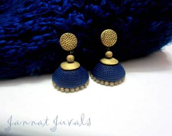 Blue and Antique Golden Jhumka