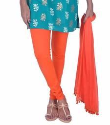 Buy Orange Cotton Lycra Leggings & Chiffon Dupatta Set legging online