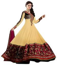 Buy Designer Sinux Brown Georgette Semi Stitched Anarkali Suit  semi-stitched-salwar-suit online