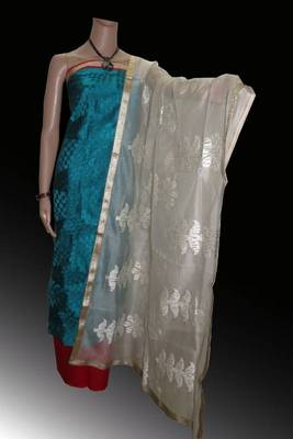 Chanderi suit with gadwal special embroidery & supernet dupatta with flower embroidery