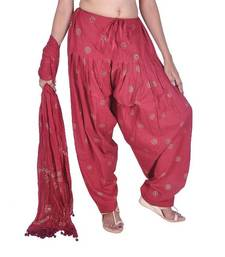 Buy Maroon Rogan Printed Cotton Patiala & Dupatta Set salwars-and-churidar online