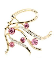 Buy Round CZ Yellow Color Stainless Steel Sweet Design Swan Brooch brooch online