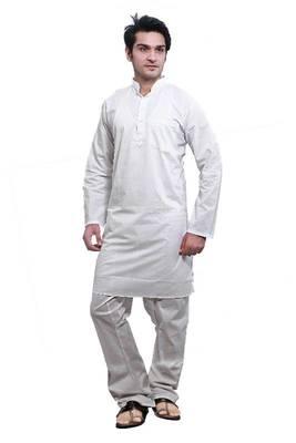 ISHIN  White Cotton Kurta & Pyjama Set