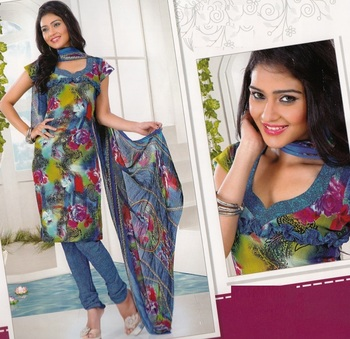 Dress material crepe designer prints unstitched salwar kameez suit d.no AP816