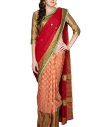 Buy Red woven silk saree with blouse chanderi-saree online