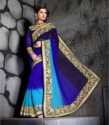 Buy Blue Embroidered Georgette saree with blouse other-saree online