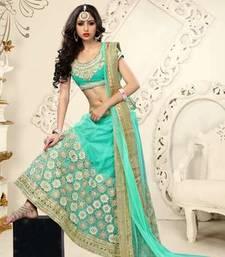 Buy sea green embroidered Net unstitched lehenga-choli lehenga-choli online