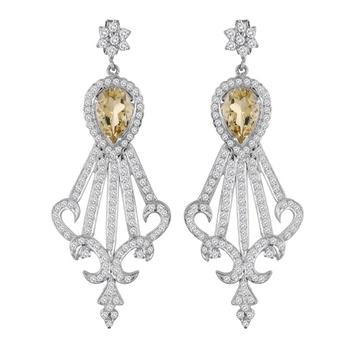 Star Shape 925 Sterling Silver with Peridot Women Earrings