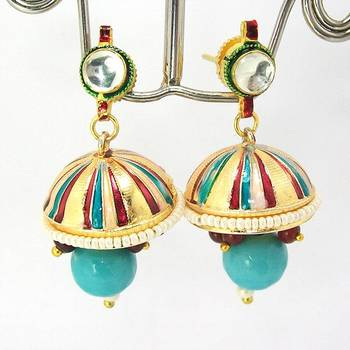 Meenakari Kundan Drop Tokri Earring Peachy Blue Stripes