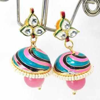 Meenakari Kundan Drop Tokri Earring Pink Blue Spiral