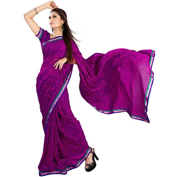TopDeals Party Wear Magenta Colored Georgette Saree With Unstitched Blouse