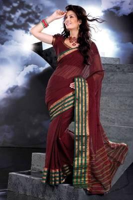 ISHIN Cotton maroon sarees Akhila