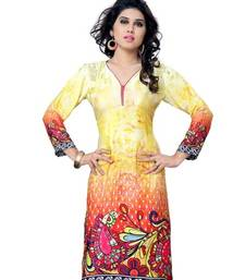 Buy Multi Printed Jacquard 3/4th Sleeves Kurti kurtas-and-kurti online