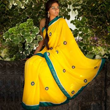 Canary Crochet Party Wear Saree | Yellow