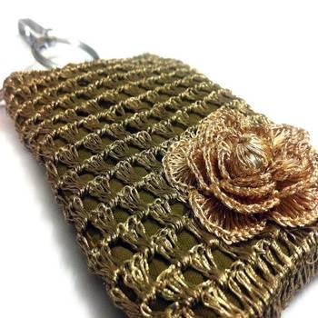 Smart Phone Crochet Covers   Copper Zari   Golden Zari Flower
