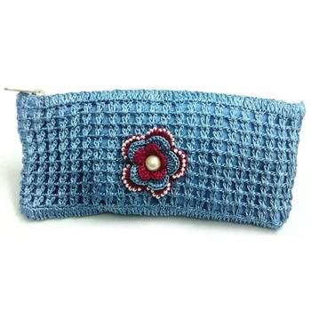 Crochet Clutch with Motif in Blue