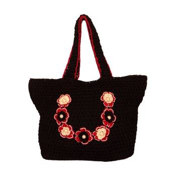 Outsized Crochet Handbag | Black