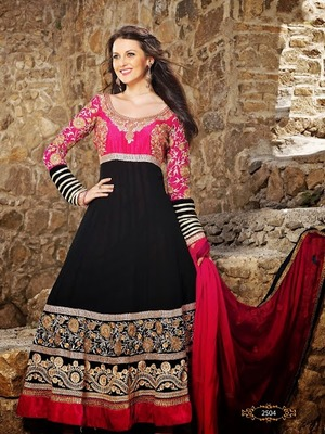 MESMERIZING BEAUTIFULLY BLACK AND RED EMBROIDERY  ANARKALI SUIT