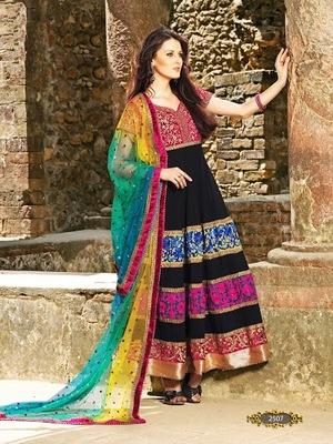 Arena Fashions Designer Ghagra Black & Awesome Red Anarkali Suit