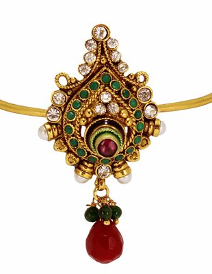 Modern Style & Antique Design Gold Plated Bajuband with Red Green Stone and Beautiful White pearl For Bridal Jewellery