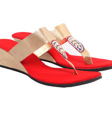Buy Gorgeous Golden Red Party Wedges wedding-season-sale online