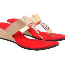 Buy Gorgeous Golden Red Party Wedges eid-footwear online