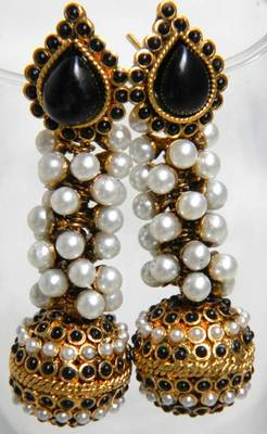 Unique Spherical Polki Jhumkis/Danglers- Black and White