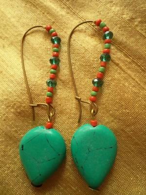 Red Green Heart Earrings -03061