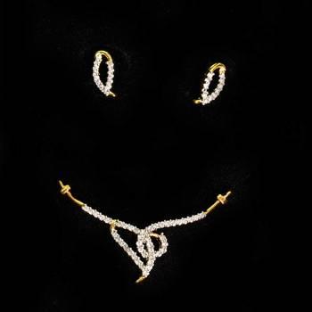 Delicate Cz Mangalsutra  American Diamond Pendant  Set By Swarajshop