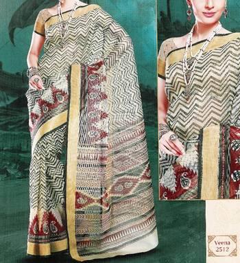 Supernet saree - Super net sari - Printed Saree - Ethnic border - With blouse - 902638 2512