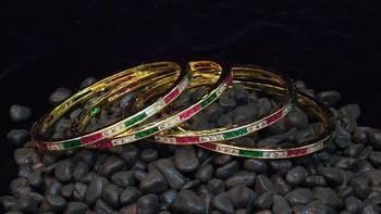 Beautiful and elegant Zircon Ruby emrald channel bangles