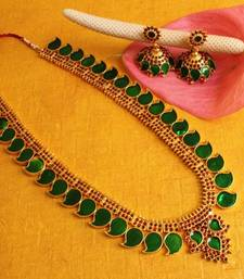 Buy BEAUTIFUL MANGO PALAKKA HAAR SET DJ15052 south-indian-jewellery online