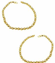 Buy Golden Beige Polki Stones Payal Anklet Jewellery for Women - Orniza anklet online