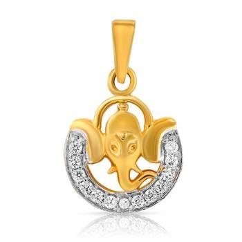 Mahi Gold Plated Gajanan Pendant With CZ Stones