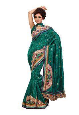 Fabdeal Sea Green Bhagalpuri Jacquard Brasso Saree With Blouse Piece