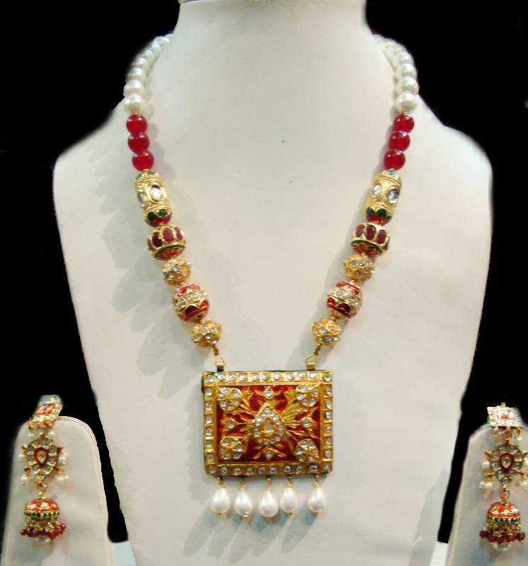 Buy Lucky Jewellery Maroon Gold Plated Kundan Jewellery Set for ...