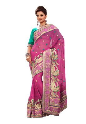 Fabdeal Pink Chiffon Saree With Blouse Piece
