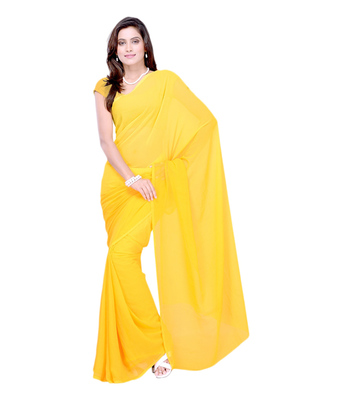 Gold plain georgette saree with blouse