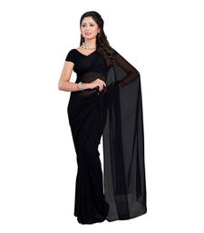 Buy Black plain georgette saree with blouse below-400 online